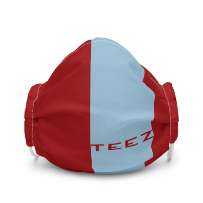 Blue on Red STRIP TEEZ Premium Face Mask